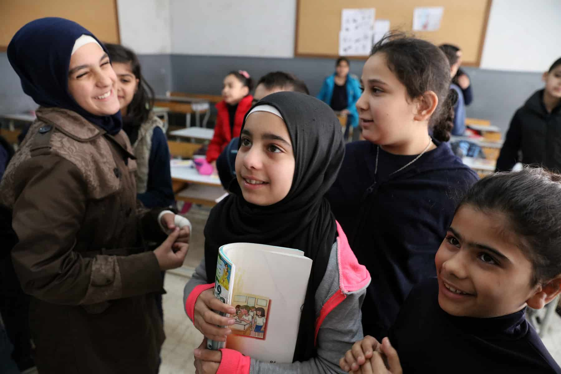 Students at school in Beirut, Lebanon. Two-thirds of the students at the school are Lebanese and one-third of the students are Syrian. Photo © Dominic Chavez/World Bank