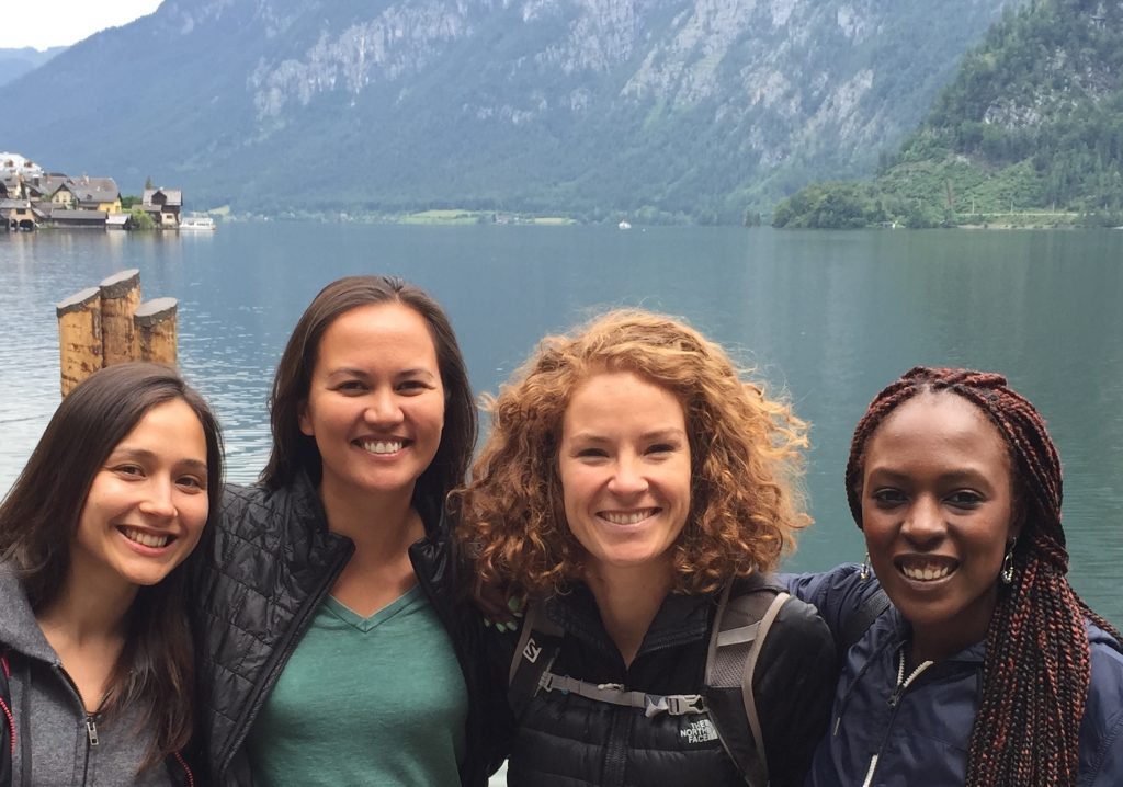 Gosia with fellow YSSPers, Dina, Stephanie and Chibulu during a visit to Hallstadt. © C. Luo