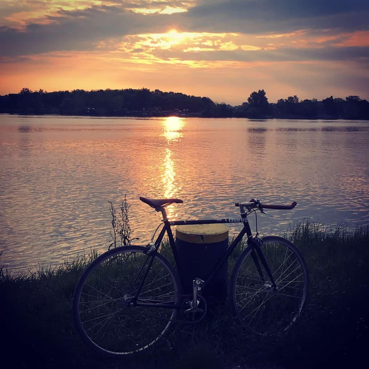 For some staff members, one side benefit of cycling to IIASAis the beautiful sunrise along the Danube River ©Michaela Rossini | IIASA
