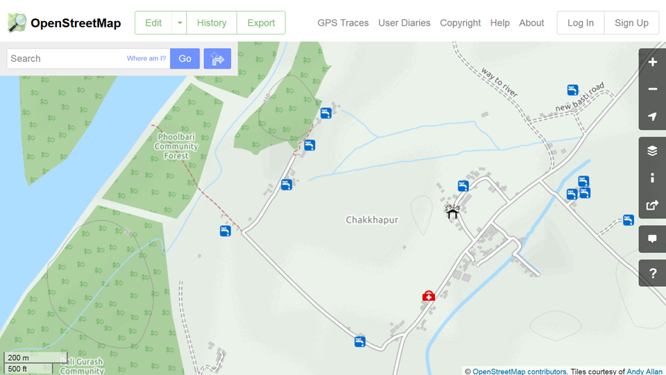 The resulting online maps in OpenStreetMap of Chakkhapur, Nepal, showing the location of drinking water, an emergency shelter and medical clinic. ©OpenStreetMap