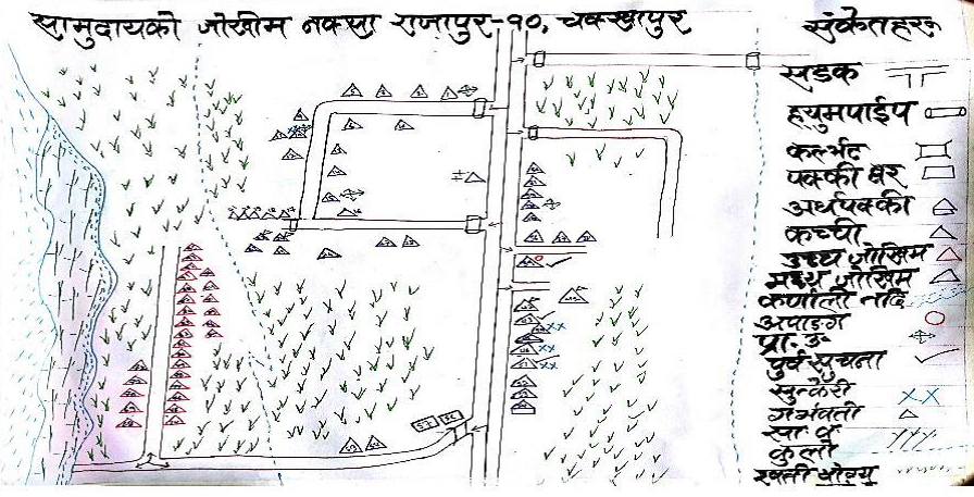 Hand drawn maps produced from community mapping exercises in Chakkhapur, Nepal © Practical Action